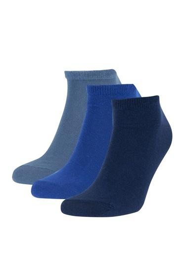 DeFacto 3'lü Kısa Çorap Seti Mavi